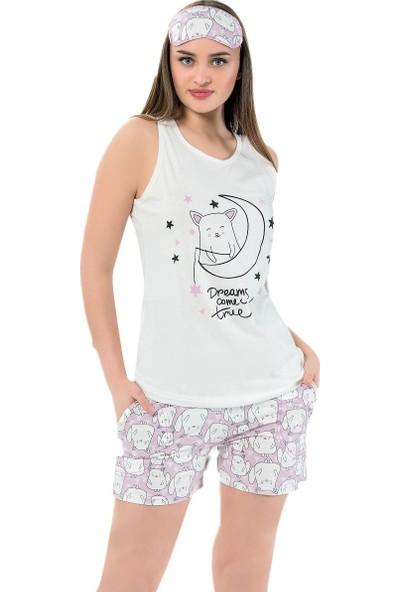 İnsta Pijama Tilki Desenli Şortlu Askılı Sıfır Kol Kadın Pijama Takımı