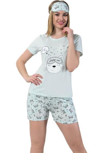 İnsta Pijama Sleepy Cat Desenli Şortlu Kadın Pijama Takımı