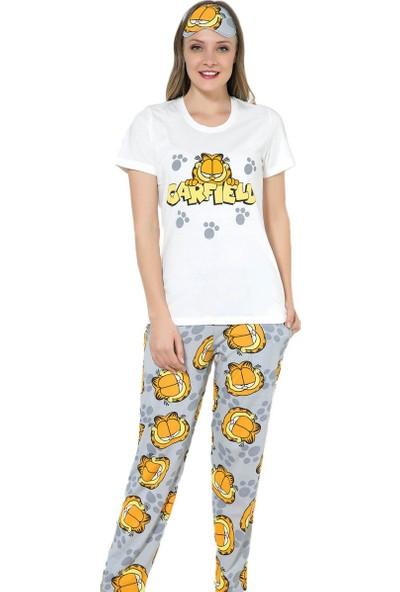 İnsta Pijama Garfield Desenli Sabahlıklı Pijama Takımı