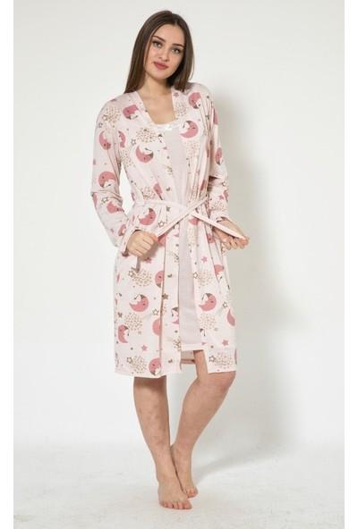 İnsta Pijama Bear Desenli Kadın Gecelik ve Sabahlık Takımı