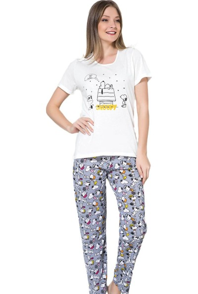 İnsta Pijama Snoopy Desenli Kısa Kollu Pijama Takımı