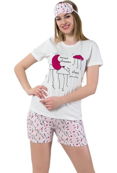 İnsta Pijama Ay Bulut Desenli Şortlu Kadın Pijama Takımı