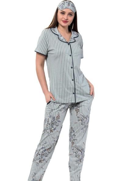 İnsta Pijama Yeşil Çiçek Kuş Desenli Önden Düğmeli Kısa Kollu Pijama Takımı