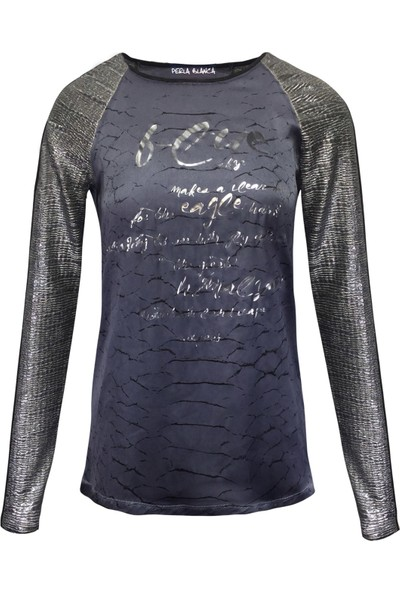 Perla Blanca Pb-Gk8002 Lacivert Simli Sweatshirt