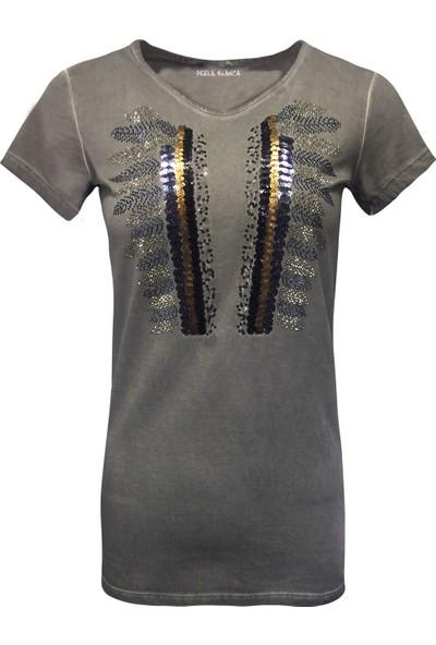Perla Blanca Pb-Gk8004 Gri İşlemeli T-Shirt