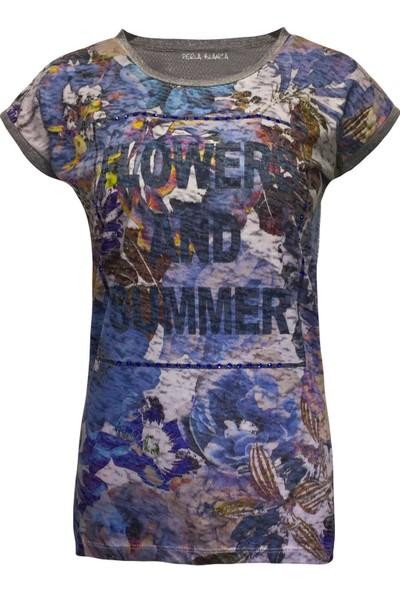 Perla Blanca Pb-Gk8006 Çiçek Desenli Mavi T-Shirt