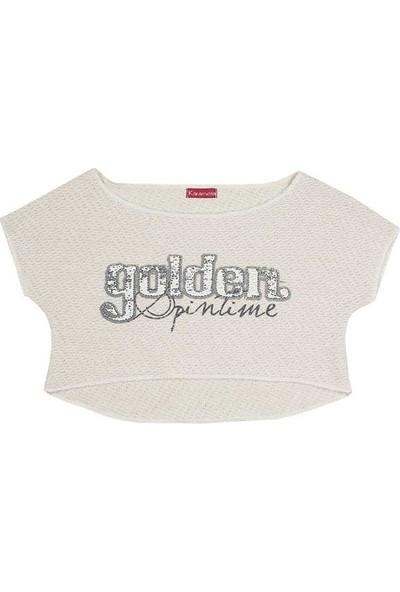Karamela Kız Çocuk Golden Kısa Sweatshirt