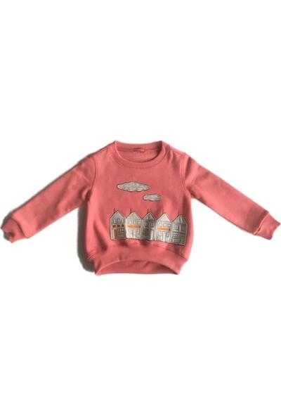 Karamela Kız Çocuk Ev Nakışlı Sweatshirt