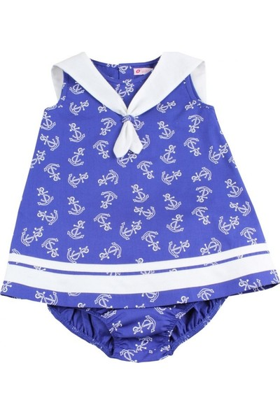 O Piti Piti Kız Bebek Çapa Desenli Elbise Külot Takım