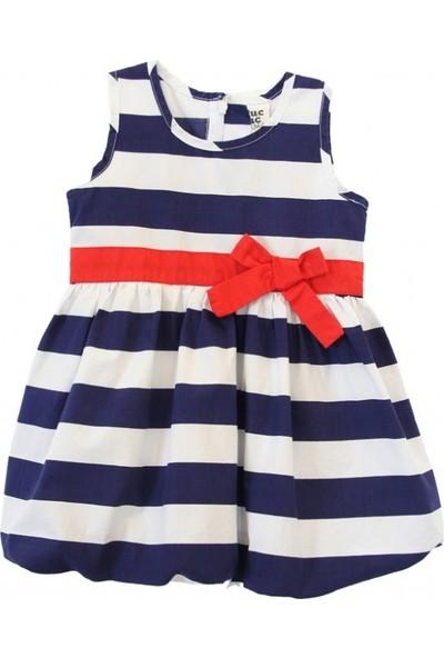 Tuc Tuc Kız Çocuk Çizgili Elbise Navy Girl