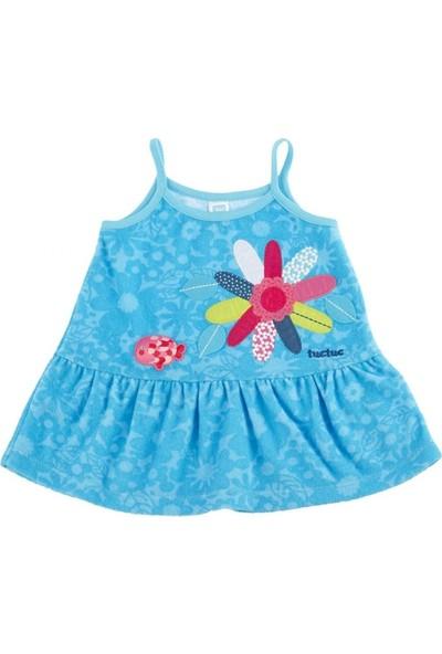 Tuc Tuc Kız Çocuk Çiçek Nakışlı Havlu Elbise Blue Sea Hawai
