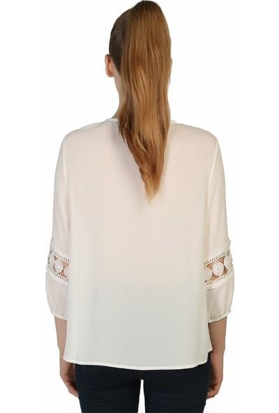 Dükkan Moda Kadın Dantel Detaylı Bluz