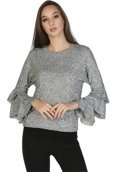 Dükkan Moda Kadın Incili Kolları Volanlı Bluz