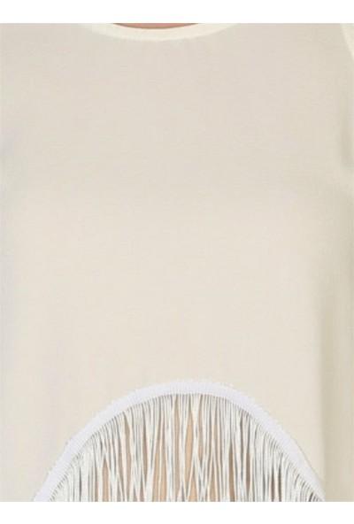 Dükkan Moda Kadın Püsküllü Beyaz Bluz