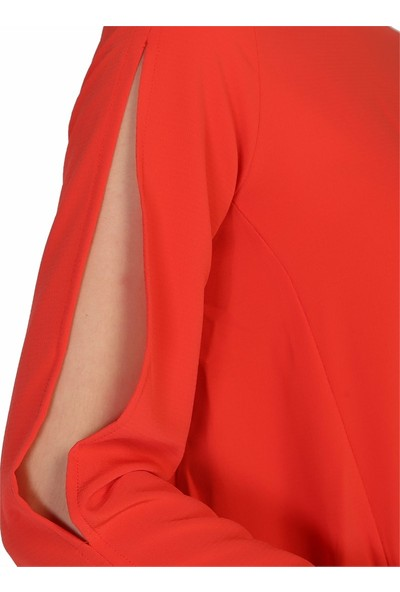 Dükkan Moda Kadın Nar Çiçeği Kolları Açık Bluz