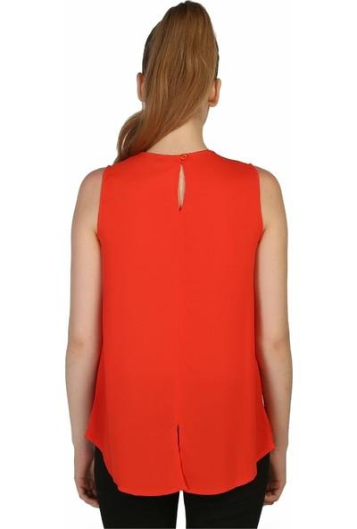 Dükkan Moda Kadın Nar Çiçeği Bluz