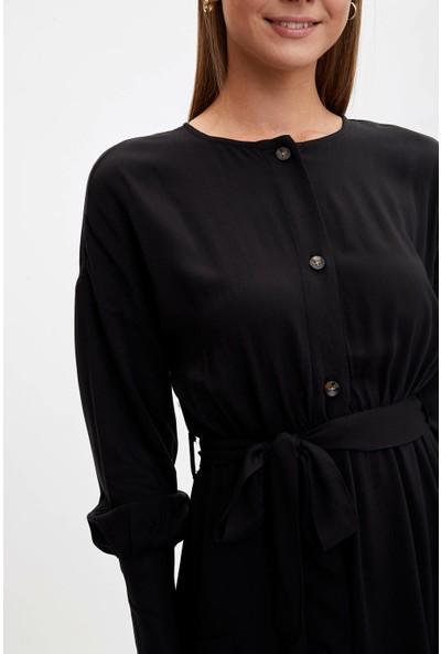 Defacto Kadın Kemerli Uzun Elbise