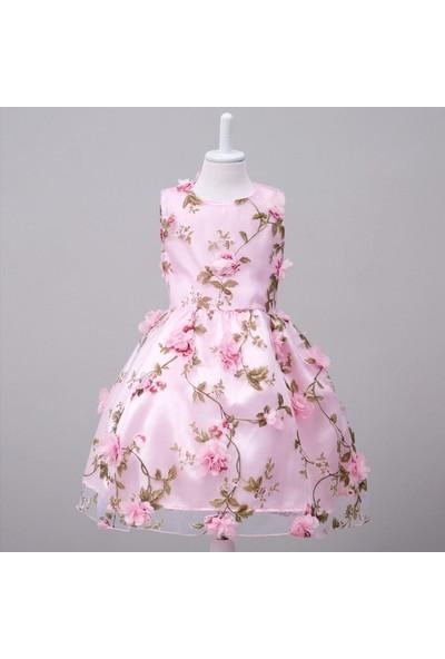 GOB2C Yazlık İşlemeli Vual Kız Çocuk Elbise