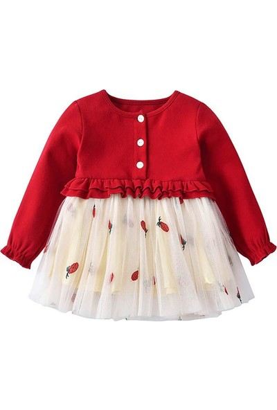 GOB2C Kışlık Uzun Kollu Tül Kız Çocuk Elbisesi