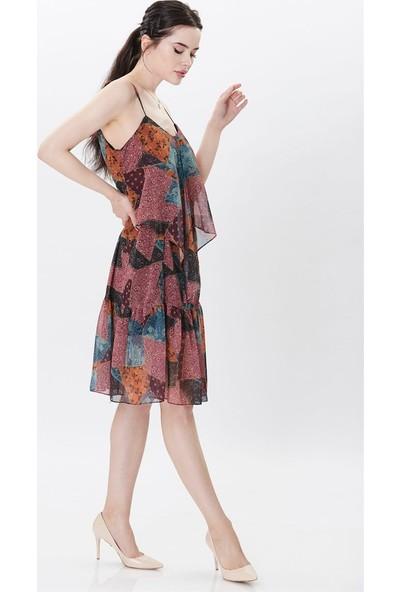 Dükkan Moda Kadın Askılı Şifon Elbise