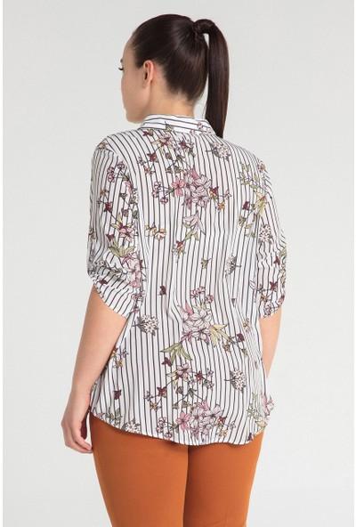 Pera Club 10L9C21380 Kadın Baskılı Gömlek