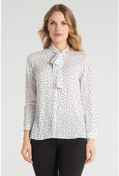 Pera Club 10W9B10178 Kadın Puantiyeli Gömlek