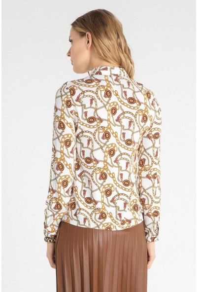 Pera Club 10W9B10227 Kadın Zincir Desen Gömlek
