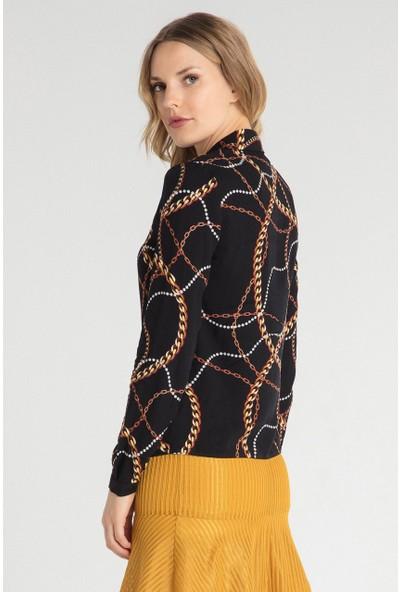 Pera Club 10W9B11227 Kadın Zincir Desen Gömlek