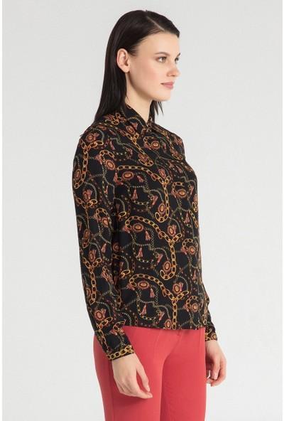 Pera Club 10W9B21227 Kadın Zincir Desen Gömlek