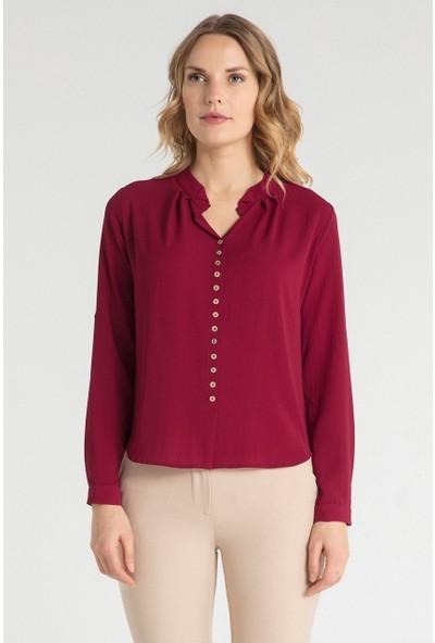 Pera Club 10W9B23181 Kadın Yaka Pile Özellikli Bluz