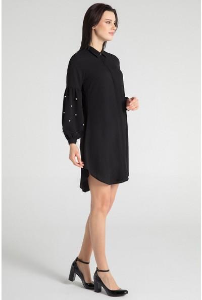 Pera 30W9E11217 Kadın Kol İncili Tunik Elbise