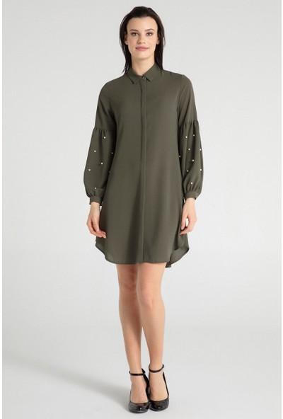 Pera Club 30W9E13217 Kadın Kol İncili Tunik Elbise