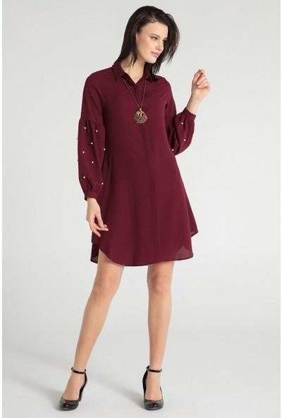 Pera 30W9E23217 Kadın Kol İncili Tunik Elbise
