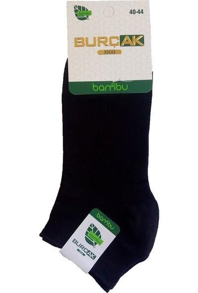 Burçak Bambu Dikişsiz Erkek Patik 12'li Çorap Siyah