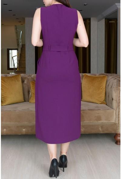 Springstore Beli Kuşaklı Kolsuz Elbise
