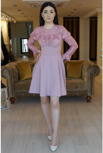 Springstore Kolları Güpürlü Kısa Elbise