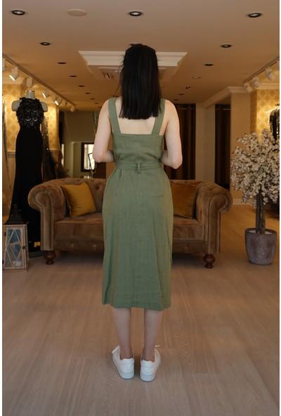 Springstore Bahçivan Askılı Elbise