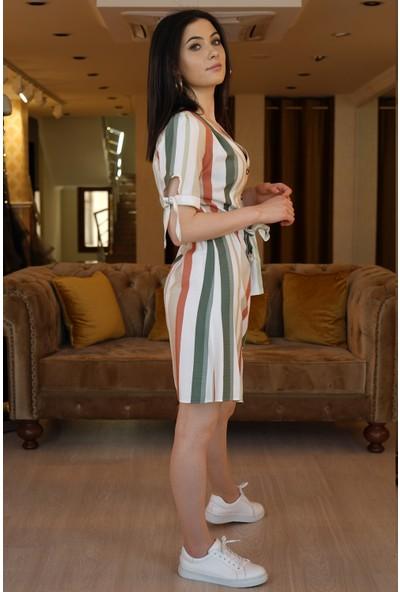 Springstore Geniş Çizgili Keten Elbise