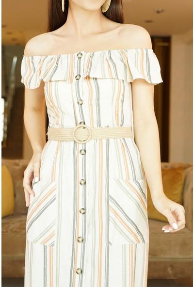Springstore Kayık Yaka Çizgili Elbise