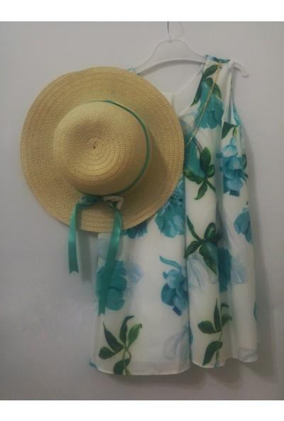 Fabre Kızçocuk V Yaka Çiçekli Şapkalı Elbise