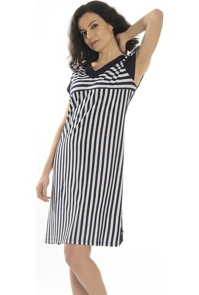 Dükkan Moda Kadın Büyük Beden Lacivert Çizgili Elbise