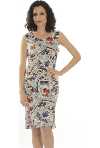 Dükkan Moda Kadın Büyük Beden Karışık Desenli Elbise