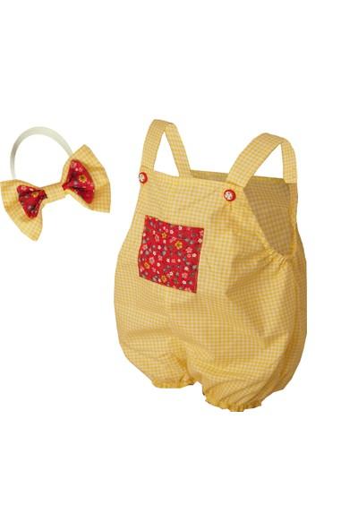 Shecco Babba Cep Detaylı Kız Bebek Tulum Bandana Takım Sarı