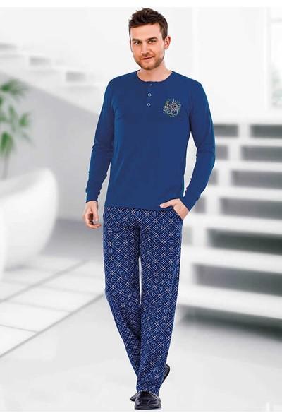 Berrak Uzun Kol Erkek Pijama Takımı Berland 3717 Saks Mavi