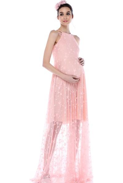 Moda Labio - Kısa Astarlı Yıldız Tül Elbise Pudra