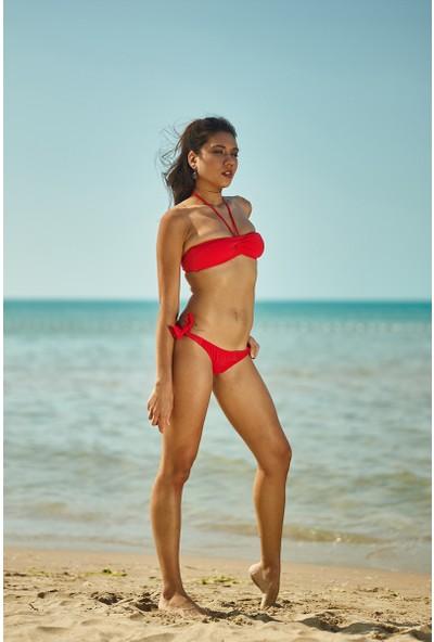 ZiButik Kırmızı Straplez Bikini Üstü