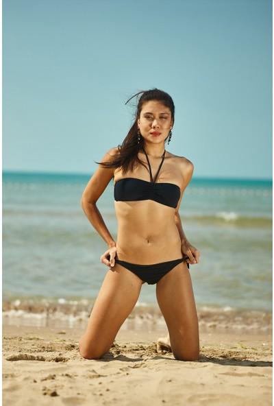 ZiButik Siyah Straplez Bikini Üstü