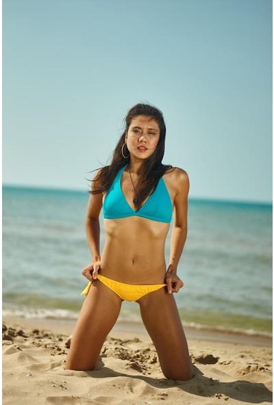 ZiButik Turkuaz Kalın Üçgen Bikini Üstü