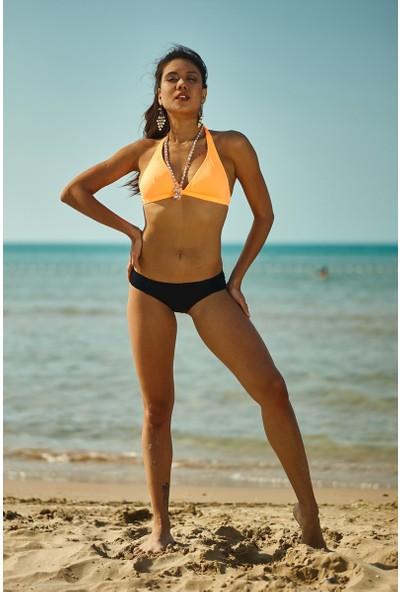 ZiButik Turuncu Kalın Üçgen Bikini Üstü