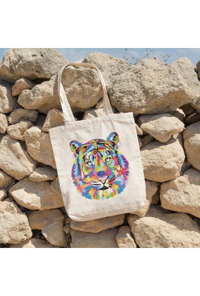 Angemiel Bag Renk Patlaması Aslan Alışveriş Plaj Bez Çanta